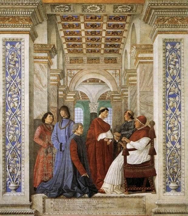 Melozzo da Forlì, consegna al Platina della Biblioteca Vaticana da parte di Sisto IV