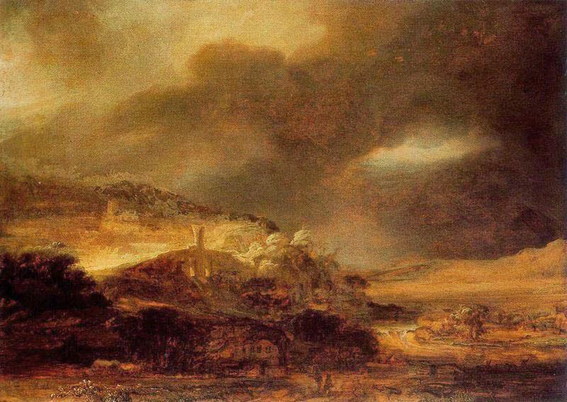 Rembrandt - Paesaggio con tempesta