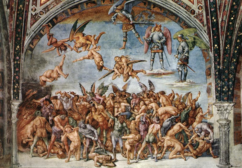 Luca Signorelli, dannati all'inferno, cappella di San Brizio, 1499