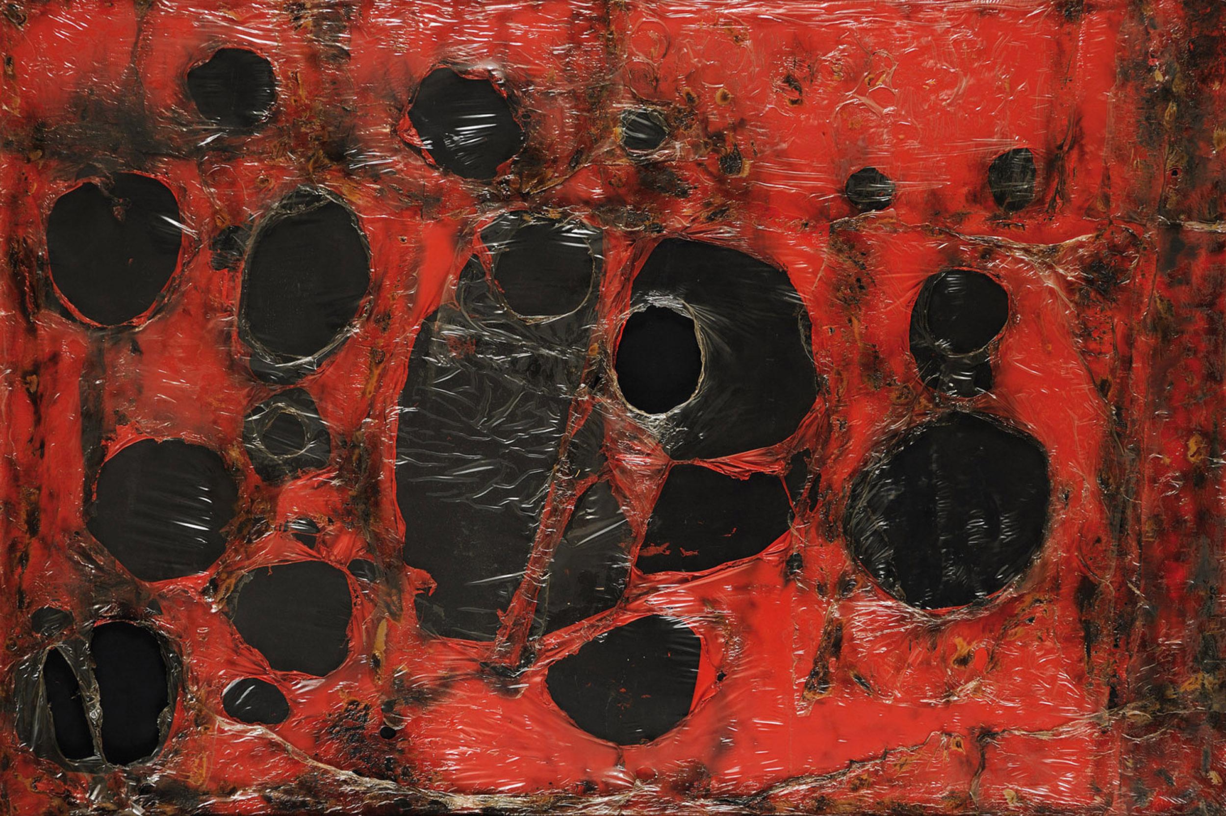 Alberto Burri, rosso plastica, 1961
