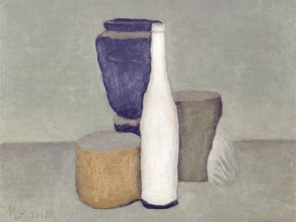 Giorgio Morandi, natura morta con oggetti in viola
