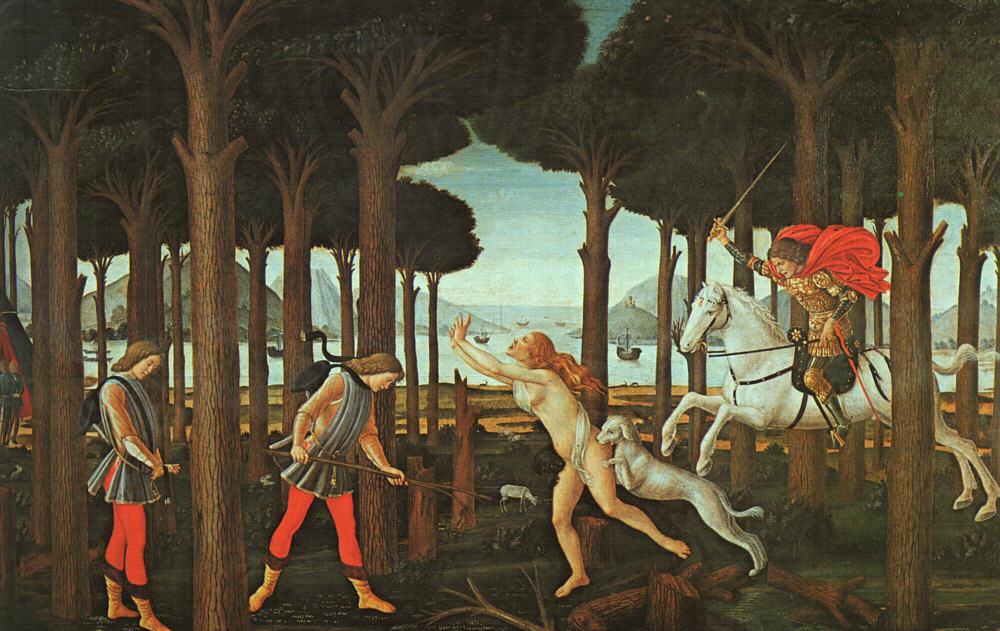 Sandro Botticelli, Nastagio degli Onesti, parte I