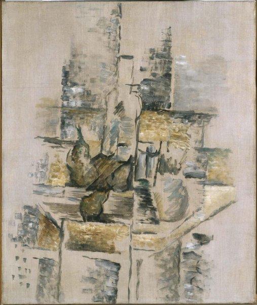 Georges Braque, bottiglia e frutta